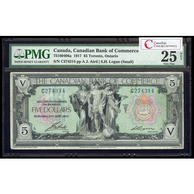 The Canadian Bank of Commerce $5 1917 Small Logan, r. PMG VF-25