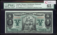 Banque Canadienne Nationale $5 1925  PMG GUNC-65