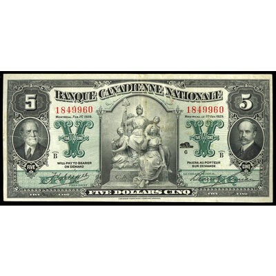 Banque Canadienne Nationale $5 1929  VF-30