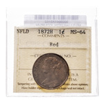 NFLD 1 cent 1872H  ICCS MS-64