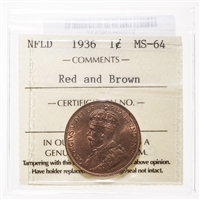 NFLD 1 cent 1936  ICCS MS-64