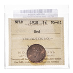 NFLD 1 cent 1938  ICCS MS-64