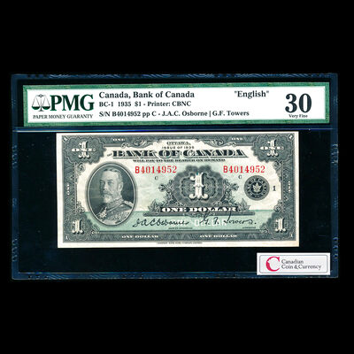 $1 1935 English BC-1 Osborne-Towers Series B Prefix B PMG VF-30
