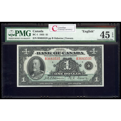 $1 1935 English BC-1 English Osborne-Towers Series B Prefix B PMG EF-45