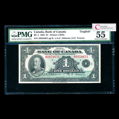 $1 1935 English BC-1 English Osborne-Towers Series A Prefix A PMG AU-55