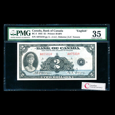 $2 1935 BC-3 English Osborne-Towers Series A Prefix A PMG VF-35
