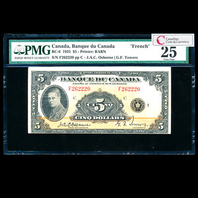 $5 1935 French BC-6 French Osborne-Towers Series F Prefix F PMG VF-25