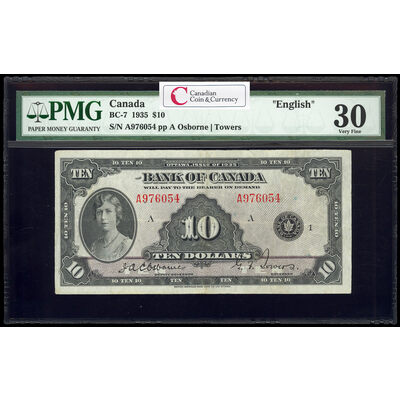$10 1935 English BC-7 English Osborne-Towers Series A Prefix A PMG VF-30