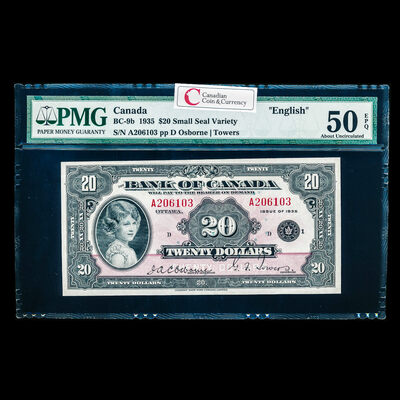 $20 1935 English BC-9b English; Small Seal Osborne-Towers Series A Prefix A PMG AU-50