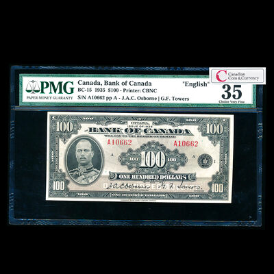 $100 1935 BC-15 English Osborne-Towers Series A Prefix A PMG VF-35