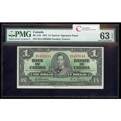 $1 1937 BC-21b Gordon-Towers Narrow Signature Panel Series H Prefix H/A PMG CUNC-63