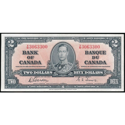 $2 1937 BC-22b Gordon-Towers Prefix Y/B AU-50