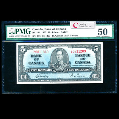 $5 1937 BC-23b Gordon-Towers U/C Gordon-Towers Series U PMG AU-50