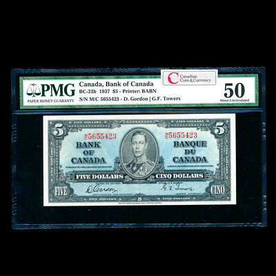$5 1937 BC-23b Gordon-Towers Series M Prefix M/C PMG AU-50