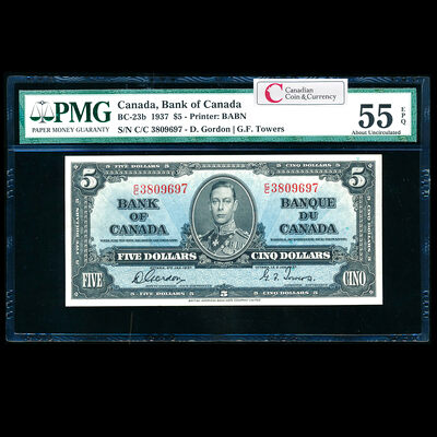 $5 1937 BC-23b Gordon-Towers C/C Gordon-Towers Series C PMG AU-55