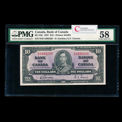 $10 1937 BC-24b Gordon-Towers Series D Prefix D/D PMG AU-58