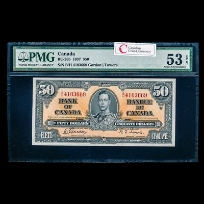 $50 1937 BC-26b Gordon-Towers Series B Prefix B/H PMG AU-53