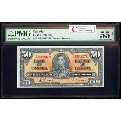 $50 1937 BC-26b Gordon-Towers Series B Prefix B/H PMG AU-55