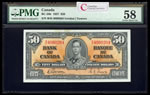 $50 1937 BC-26b Gordon-Towers Series B Prefix B/H PMG AU-58