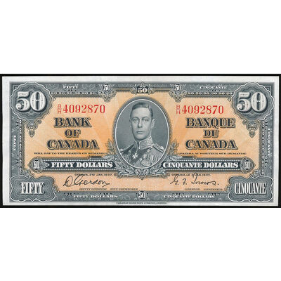 $50 1937 BC-26b Gordon-Towers Prefix B/H UNC-60