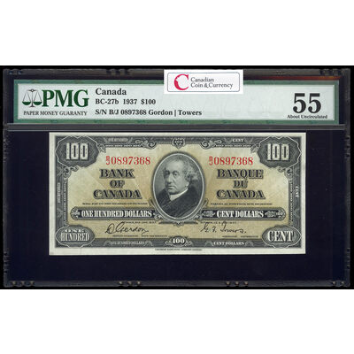 $100 1937 BC-27b Gordon-Towers Series B Prefix B/J PMG AU-55