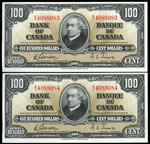 $100 1937 Consecutive BC-27b Gordon-Towers B/J Gordon-Towers Series B Prefix B/J  AU-55