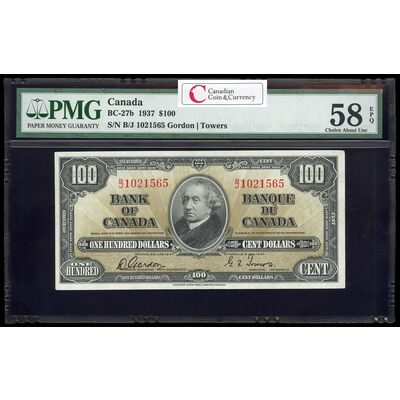 $100 1937 BC-27b Gordon-Towers Series B Prefix B/J PMG AU-58
