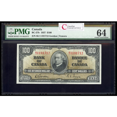 $100 1937 BC-27b Gordon-Towers B/J Series B PMG CUNC-64