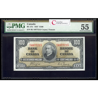 $100 1937 BC-27c Gordon-Towers B/J Series C PMG AU-55