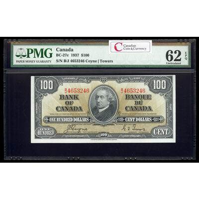 $100 1937 BC-27c Gordon-Towers B/J Series C PMG UNC-62