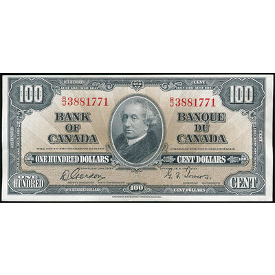 $100 1937  BC-27b Gordon-Towers Prefix B/J UNC-60
