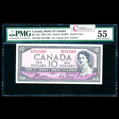 $10 1954 Devil's Face BC-32a Coyne-Towers B/D Coyne-Towers Series B Prefix B/D PMG AU-55
