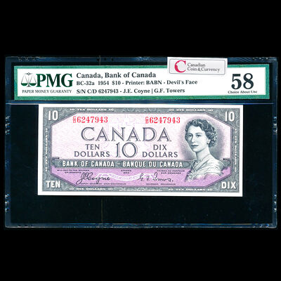 $10 1954 Devil's Face BC-32a Coyne-Towers C/D Coyne-Towers Series C Prefix C/D PMG AU-58