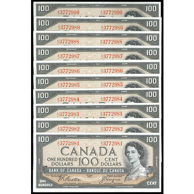 $100 1954 Modified 10 Consecutive BC-43a Beattie-Coyne Prefix A/J GUNC