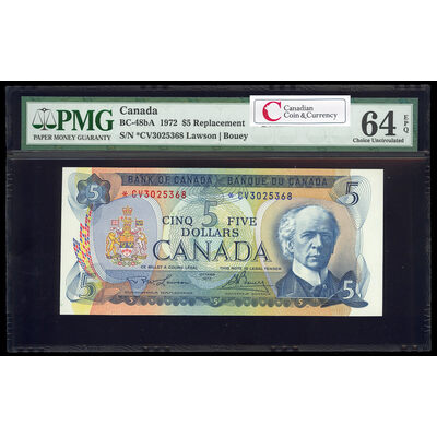 $5 1972 Replacement BC-48aA Lawson-Bouey; Series V Prefix *CV PMG CUNC-64