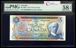 $5 1972 Test Note BC-48bT Lawson-Bouey; Prefix RS Lawson-Bouey Series S Prefix RS PMG AU-58