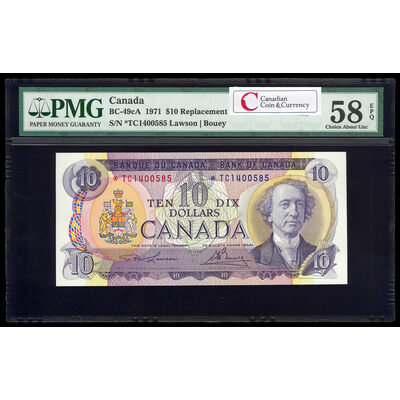 $10 1971 Replacement BC-49cA Lawson-Bouey; Series C Prefix *TC PMG AU-58
