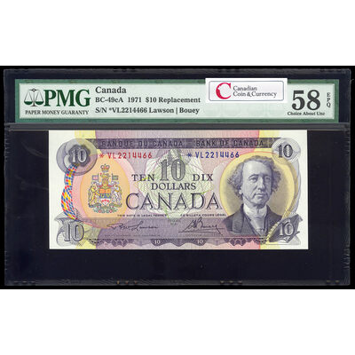 $10 1971 Replacement BC-49cA Lawson-Bouey; Series L Prefix *VL PMG AU-58