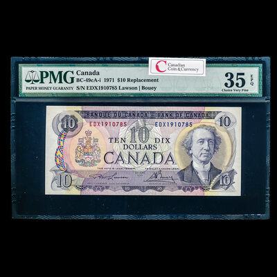 $10 1971 Replacement BC-49cA-i Lawson-Bouey Series X Prefix EDX PMG VF-35