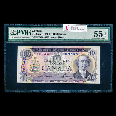 $10 1971 Replacement BC-49cA-i Lawson-Bouey Series X Prefix EDX PMG AU-55