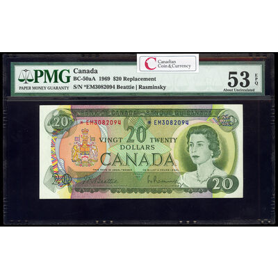 $20 1969 Replacement BC-50aA Beattie-Rasminsky Series M Prefix *EM PMG AU-53