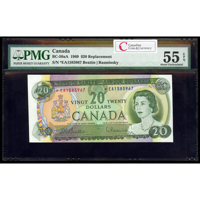 $20 1969 Replacement BC-50aA Beattie-Rasminsky Series A Prefix *EA PMG AU-55