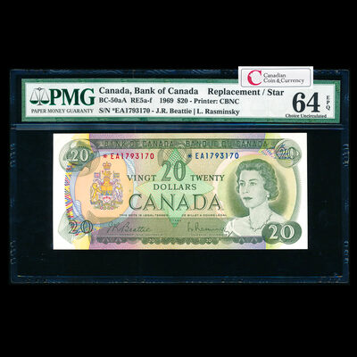 $20 1969 Replacement BC-50aA Beattie-Rasminsky; *EA Beattie-Rasminsky Series A Prefix *EA PMG CUNC-64