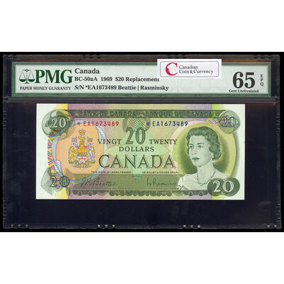 $20 1969 Replacement BC-50aA Beattie-Rasminsky; Series A Prefix *EA PMG GUNC-65