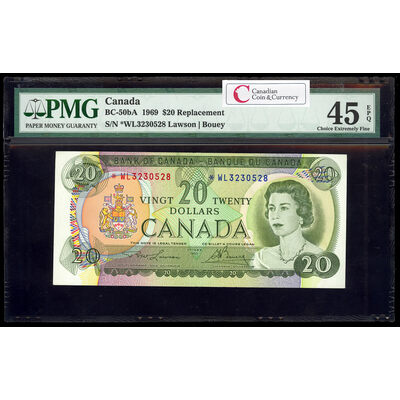 $20 1969 Replacement BC-50bA Lawson-Bouey Series L Prefix *WL PMG EF-45