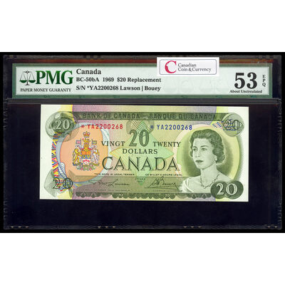 $20 1969 Replacement BC-50bA Lawson-Bouey Series A Prefix *YA PMG AU-53
