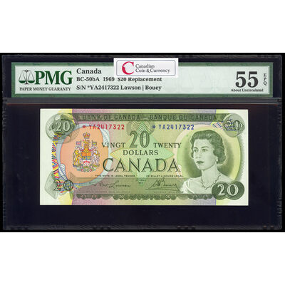 $20 1969 Replacement BC-50bA Lawson-Bouey; Series A Prefix *YA PMG AU-55
