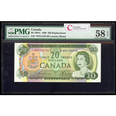 $20 1969 Replacement BC-50bA Lawson-Bouey; Series N Prefix *WN PMG AU-58