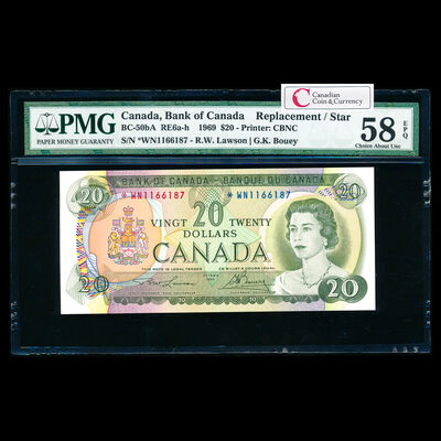 $20 1969 Replacement BC-50bA Lawson-Bouey; *WN Lawson-Bouey Series N Prefix *WN PMG AU-58