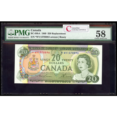 $20 1969 Replacement BC-50bA Lawson-Bouey; Series V Prefix *WV PMG AU-58